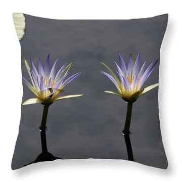 Twin Blue Egyptian Lotus Waterlilies And Dragonfly Throw Pillow by Byron Varvarigos