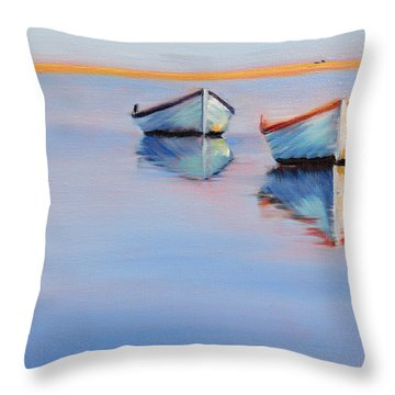 Twin Boats Throw Pillow by Trina Teele