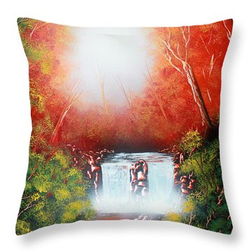 Throw Pillow featuring the painting Twin Falls  by Greg Moores