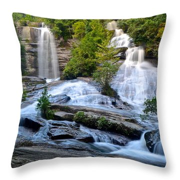 Twin Falls South Carolina Throw Pillow by Frozen in Time Fine Art Photography