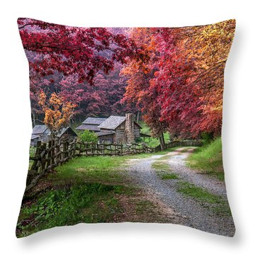 Twin Falls State Park Throw Pillow by Mary Almond