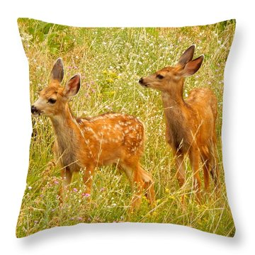 Twin Fawns Throw Pillow