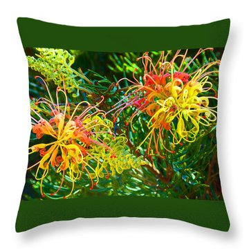 Twin Grevilleas Throw Pillow