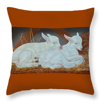 Twin Kids Throw Pillow by K L Kingston