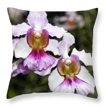 Twin Orchids Throw Pillow