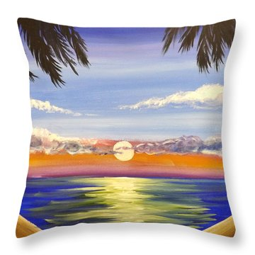 Twin Palms Throw Pillow by Darren Robinson