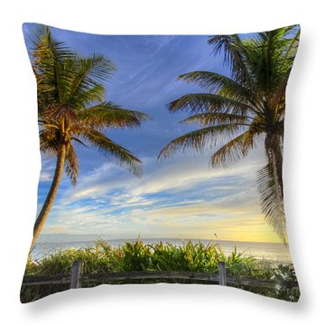 Twin Palms Throw Pillow by Debra and Dave Vanderlaan