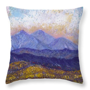 Throw Pillow featuring the painting Twin Peaks Above The Fruited Plain by Margaret Bobb