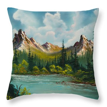 Twin Peaks River Throw Pillow by C Steele