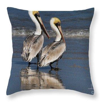 Twin Pelicans Throw Pillow by Deborah Benoit