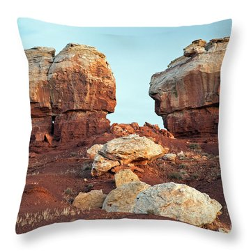 Twin Rocks At Sunrise Capitol Reef National Park Throw Pillow