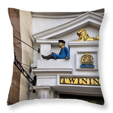 Throw Pillow featuring the photograph Twining Tea Emporium London by Shirley Mitchell