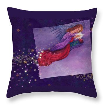 twinkling Angel with star Throw Pillow
