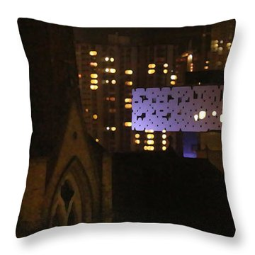 Twinkling City Throw Pillow by Yvonne Wright