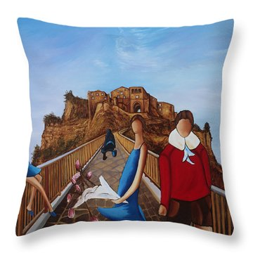 Twins On Bridge Throw Pillow by William Cain