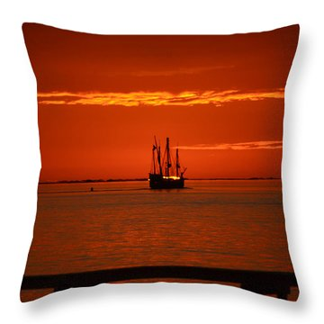 Two 3-masted Schooners Sail Off Into The Santa Rosa Sound Sunset Throw Pillow by Jeff at JSJ Photography
