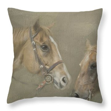 Throw Pillow featuring the digital art Two Amigos by Linda Blair