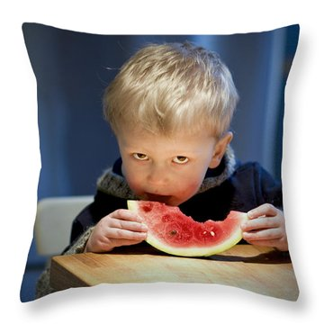 Two And A Half Years Of Watermelon Love Throw Pillow by Valerie Rosen