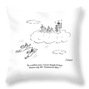 Two Angels Speak As They Look At Frank Sinatra Throw Pillow