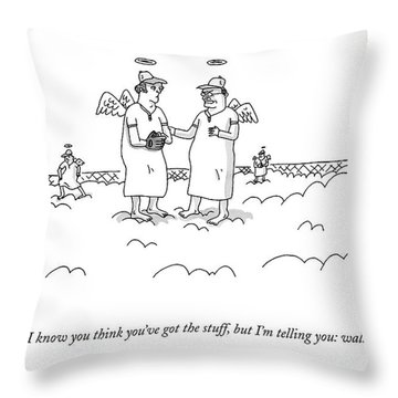 Two Angels Speak To Each Other In A Baseball Throw Pillow