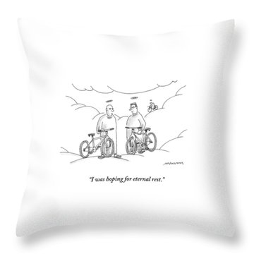 Two Angels With Bicycles Converse. Another Angel Throw Pillow
