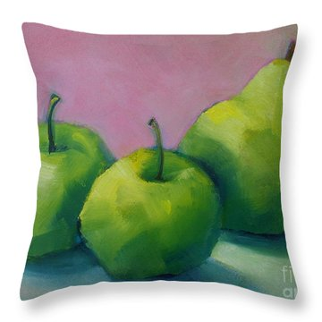 Throw Pillow featuring the painting Two Apples And One Pear by Michelle Abrams