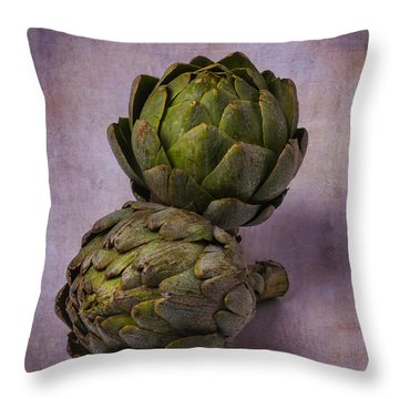 Two Artichokes Throw Pillow by Garry Gay