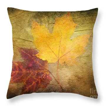 Two Autumn Leaves Throw Pillow