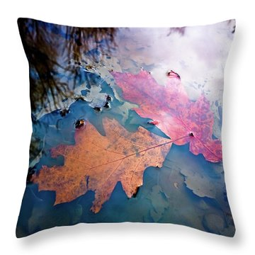 Two Autumn Leaves Throw Pillow by Milan Surkala
