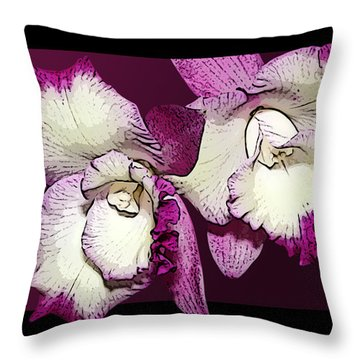 Two Baby Orchids Throw Pillow by Phyllis Denton