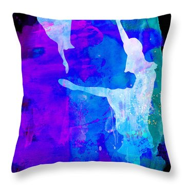Two Ballerinas Watercolor 3 Throw Pillow