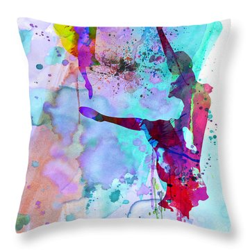 Two Ballerinas Watercolor 4 Throw Pillow by Naxart Studio
