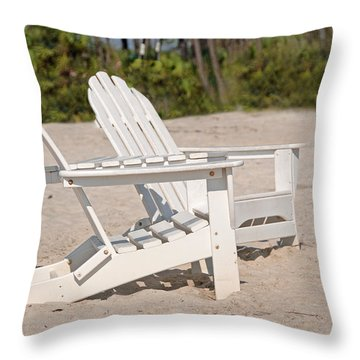 Throw Pillow featuring the photograph Two Beach Chairs by Charles Beeler