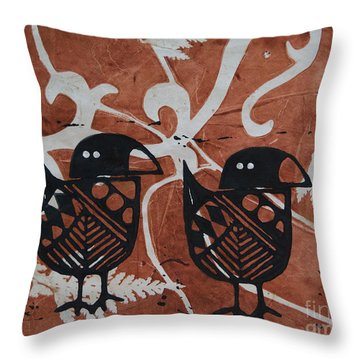 Two Beaks Throw Pillow by Cynthia Lagoudakis