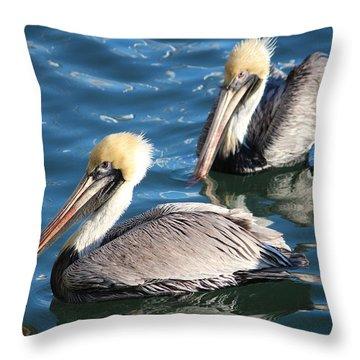 Two Beautiful Pelicans Throw Pillow by Cynthia Guinn