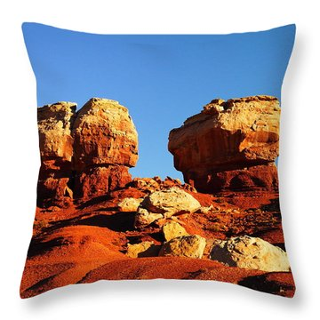 Two Big Rocks At Capital Reef Throw Pillow by Jeff Swan