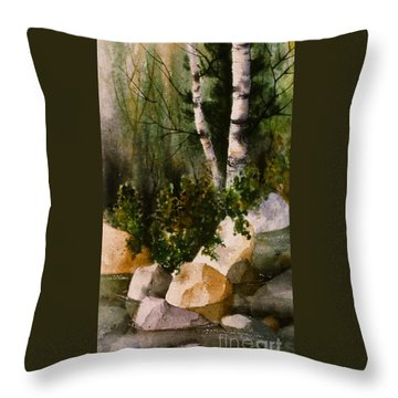 Two Birch By Rocky Stream Throw Pillow