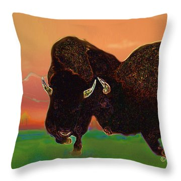 Two Bison Throw Pillow by Kae Cheatham