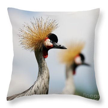 Two Black Crowned Cranes Throw Pillow by Nick  Biemans