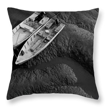 Two Boats At Low Tide Throw Pillow