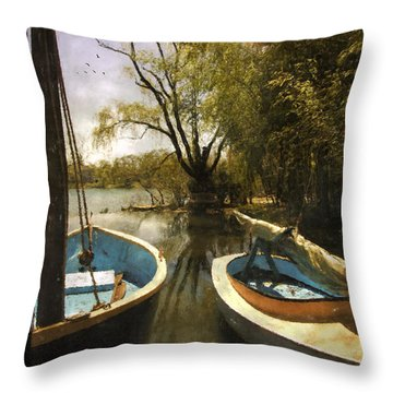 Throw Pillow featuring the photograph Two Boats by John Rivera