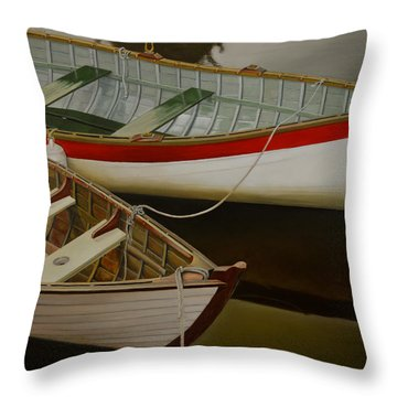 Throw Pillow featuring the painting Two Boats by Thu Nguyen