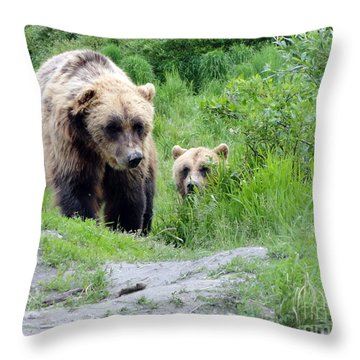 Two Brown Bears Throw Pillow