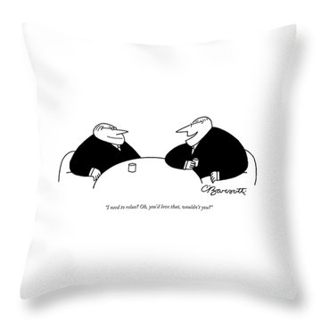 Two Businessmen Sit And Speak At A Table Digibuy Throw Pillow