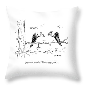 Two Buzzards Sit And Talk On A Branch Throw Pillow
