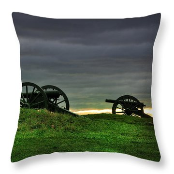 Two Cannons At Gettysburg Throw Pillow by Bill Cannon