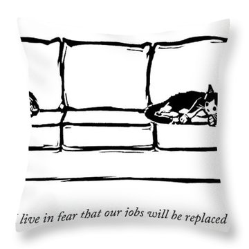 Two Cats Curl Up At Each End Of A Sofa Throw Pillow