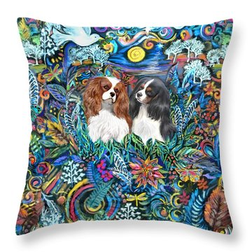 Two Cavaliers In Paradise Throw Pillow by Jean Fitzgerald