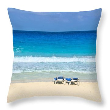 Two Chairs On Cancun Beach Throw Pillow