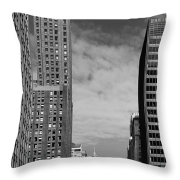 Two Chicago Classics- Carbide And Carbon And Wrigley Building Throw Pillow by Christine Till